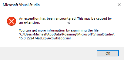 An exception has been encountered. This may be caused by an extension.