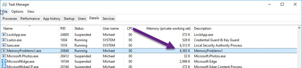 task manager memory measuring