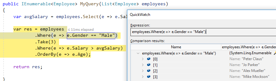 LINQ Query in Visual Studio QuickWatch