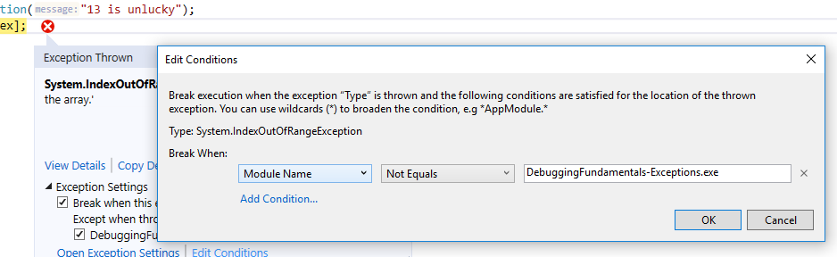 Exception settings condtions window