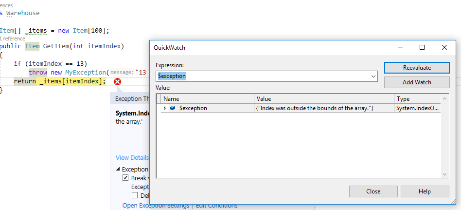 Exception view details quickWatch