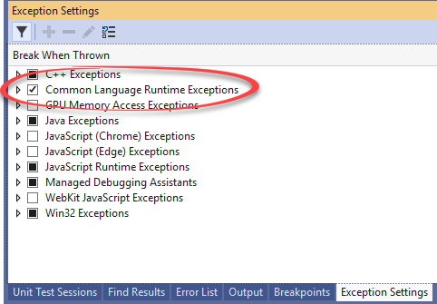 Exception settings Visual Studio
