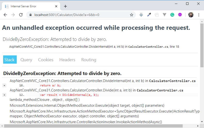 Developer Exception Page
