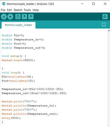 Arduino program with temperature sensor