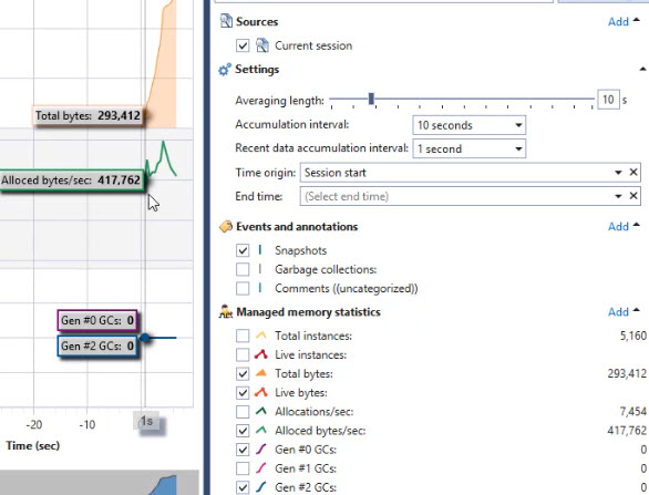 SciTech memory profiler real time view