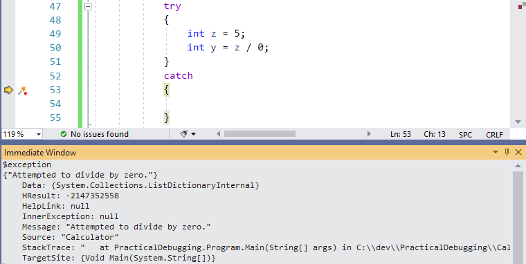 $exception Visual Studio