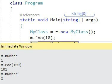 Immediate window evaluation visual studio
