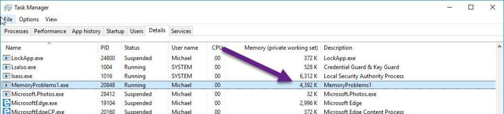 Task manager memory measuring